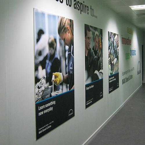 sign panels printed boards applied to walls